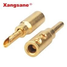 8 stücke 50 stücke 100 stücke Xangsane reinem kupfer sand überzogene gold banana stecker hifi lautsprecher kabel stecker freies löten audio stecker
