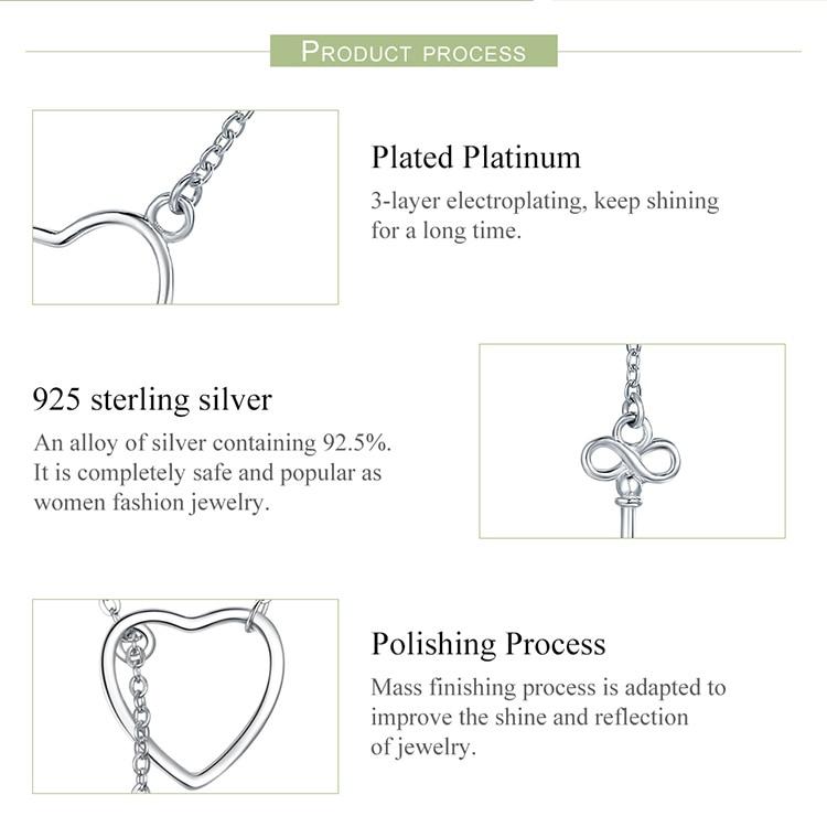 H49d534cb9daa46beb172f30e93914a0dZ BAMOER 925 Sterling Silver Sweet Key of Heart Lock Link Chain Necklaces & Pendants Women Luxury Sterling Silver Jewelry SCN107