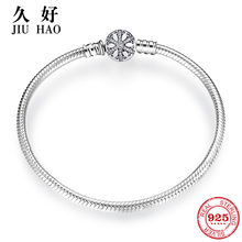 925 Sterling Silver Snowflake charms Bracelet Engrave Dazzling Clear CZ Round Clasp Rope Chain for Women DIY Jewelry