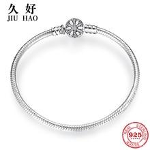 925 prata esterlina floco de neve encantos pulseira gravar deslumbrante claro cz redondo fecho corda corrente para mulher jóias diy