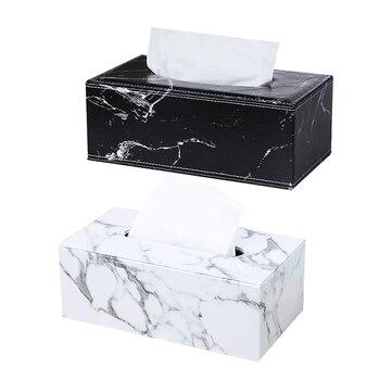 Padrão de mármore retangular couro tecido caixa capa titular hotel gaveta luz luxo escritório jantar couro tecido caixa