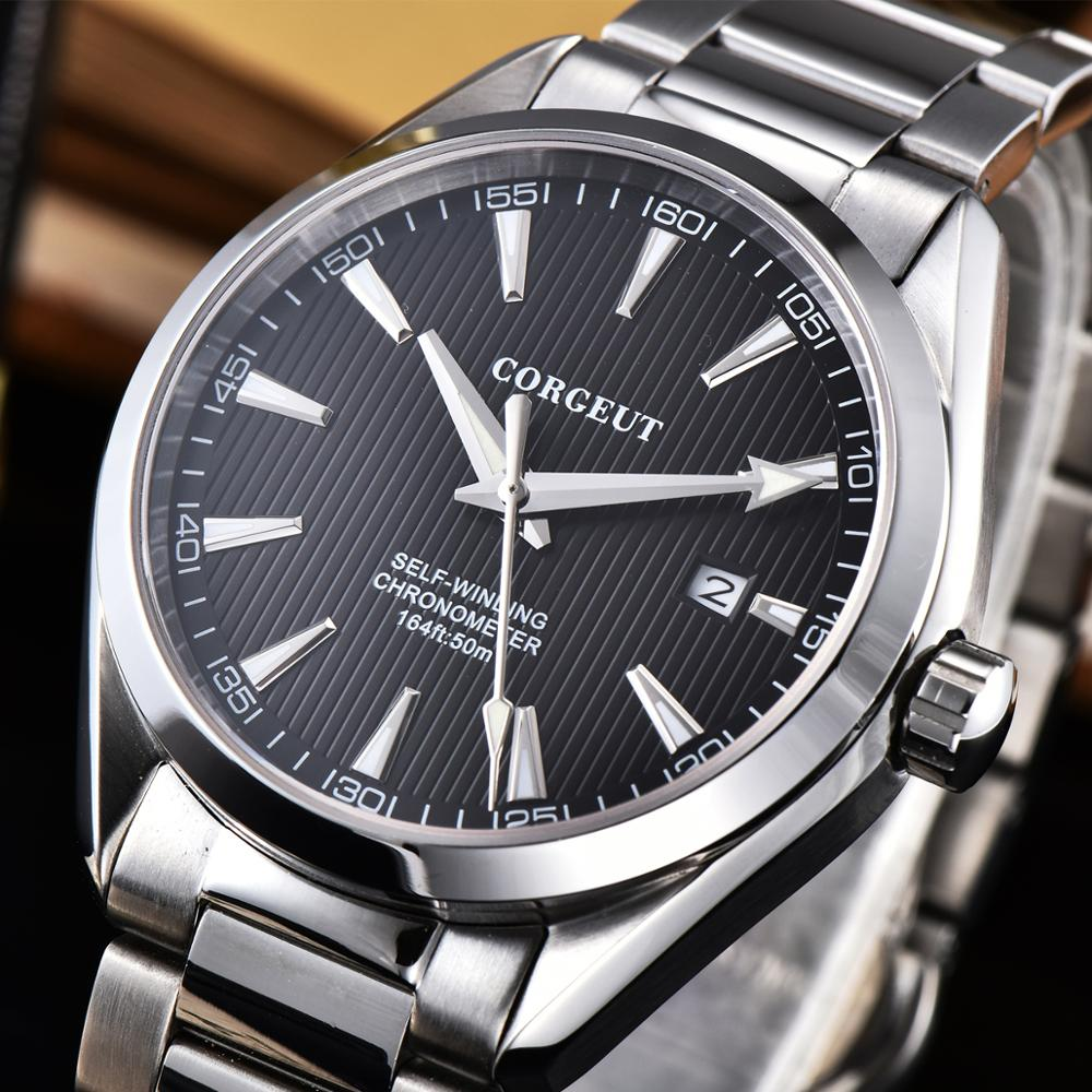 Corgeut 41mm Automatic Mechanical Watch Men Luxury Calendar Stainless Steel Strap Sapphire Luminous Waterproof Wristwatch Men