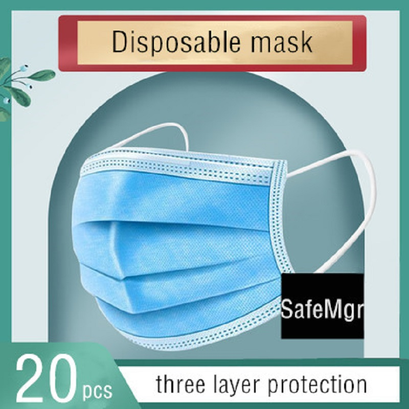 20Pcs Particle Anti-virus Face Mask Blue 3-Layer Face Mask Dust Mist Filter Respirator Masks For Personal Protection