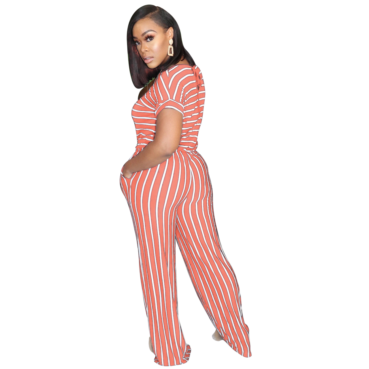 H49d578a13bd4408c8334152f6168f155v - Fashion Women Stripes Jumpsuits Summer New Arrival Short Sleeves Crew Neck Women Casual Rompers Loose Daily Wear Outfits