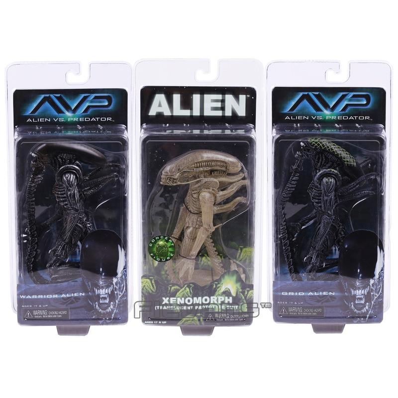 Neca avp aliens vs. predador xenomorph guerreiro, grade, alienígena, pvc, figura de ação, modelo, coleção de estatuetas de brinquedos