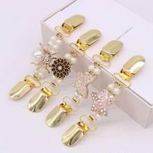 Nova pérola vestuário clipe de ouro duckbill botão cardigan aperto clipe de broche de moda feminina camisola clipe accessor