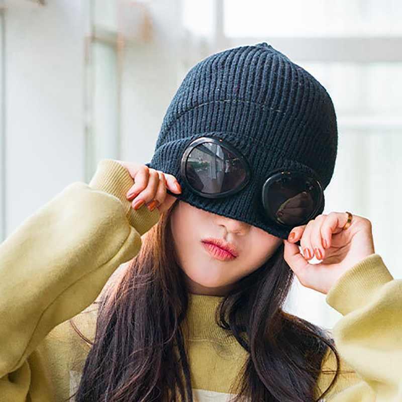 Unisex Blend Wool Hat Thick Velvet Winter Windproof Ear Protection Glasses Cap