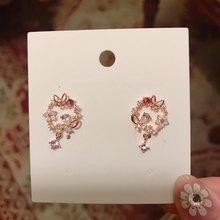 MENGJIQIAO-Pendientes colgantes circulares de flores de mariposa de circonia Micro pavé coreano para mujer, joyería de circonita