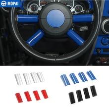지프 랭글러에 대 한 MOPAI ABS 자동차 인테리어 스티어링 휠 장식 커버 트림 스티커 액세서리 JK 2007 2008 2009 2010