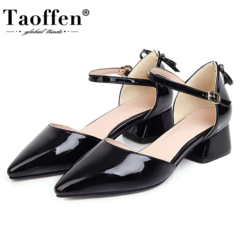 Taoffen Plus Size 31-48 Leather Women Sandals Bow-Tie  Pointed Toe Shoes Women Cover Heel Soft Buckle Metal Casual Zapatos