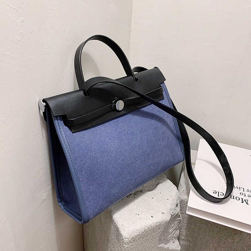 Большая Сумка-тоут YL контрастных цветов, 2020, модная Высококачественная холщовая женская дизайнерская сумка, вместительная сумка-мессенджер на плечо