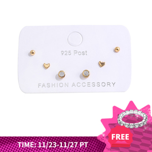 ANENJERY Simple 6-piece Small Earrings Set Zircon Dot Love Heart Stud Earrings For Women Gift S-E1234