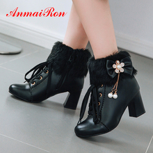 ANMAIRON Bow PU Ankle Women Winter Fashion Round Toe Solid String Bead Square Heel Boots Pearl High Metal Chain