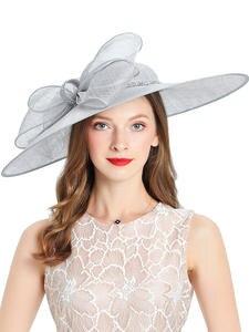 Women's Hats Fascinator Cap Fedoras Linen Bowler Gray Royal Wedding-Church Wide-Brim