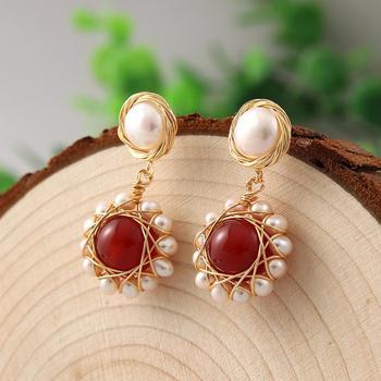 Pendientes de perlas Coeufuedy, Pendientes colgantes de perlas de agua dulce Real para mujeres, regalo de fiesta, joyería fina hecha a mano creativa