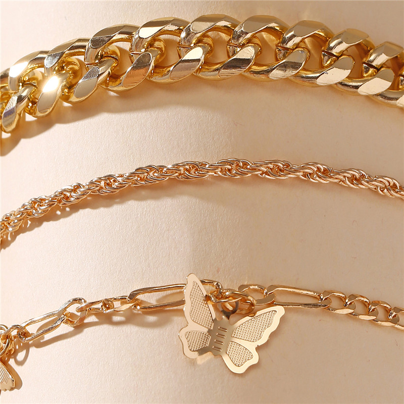 17KM Fashion Butterfly Anklet Set for Women DIY Gold Chain AnkletS 2020 Heart Foot Bracelet Beach Anklet Bohemian Jewelry 2