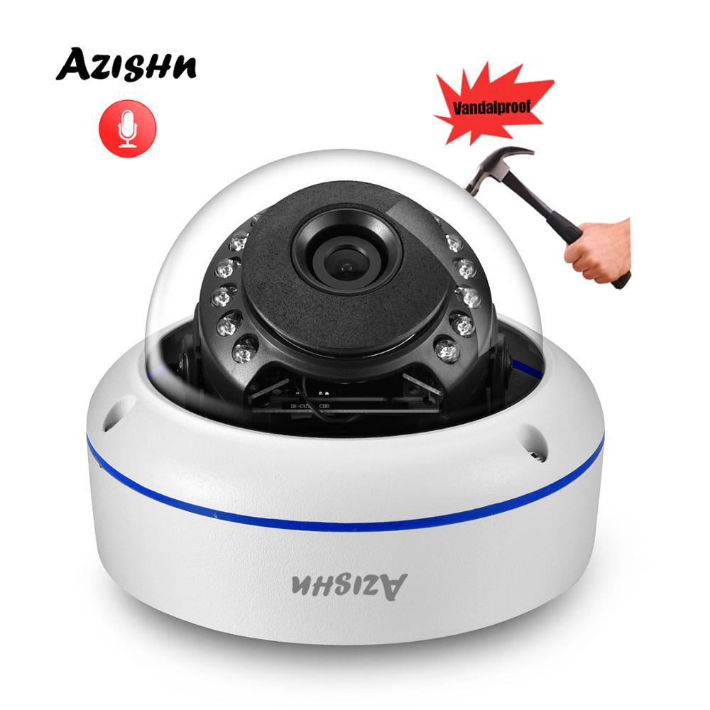 "AZISHN Vandalproof H.265+ 5MP 1/2.8""SONY IMX335 Audio IP Camera Waterproof Dome P2P IR Night CCTV Surveillance ONVIF 2MP/4MP"