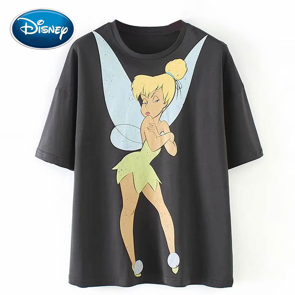 Disney Cute Teenager Master Angel Cartoon Print T-Shirt O-Neck Pullover Casual Fashion Sweet Women Short Sleeve Loose Tee Tops