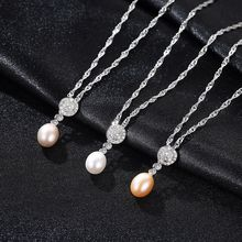 S925 Silver Necklace with AAA Zircon 7-8mm Natural Freshwater Pearl Euramerican Necklace Fine Jewelry Wedding Party Gift недорого