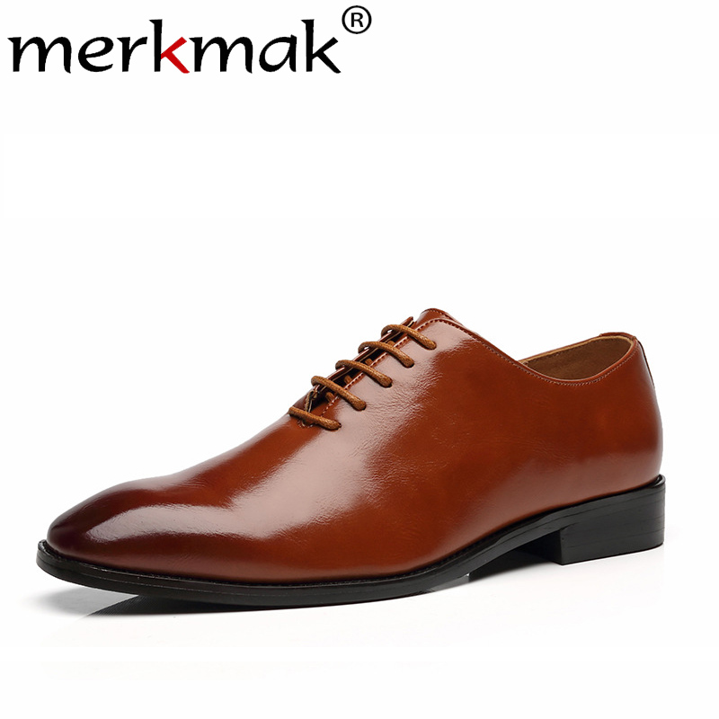 Merkmak Bristish Style Men Shoes Fashion Pointed Toe Lace-up Dress Shoes Business Formal Footwear Men Big Size Oxfords Footwear