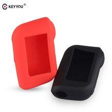 Keyyou silicone caso chave automática para starline a93 a63 versão russa em dois sentidos alarme de carro lcd controlador remoto chaveiro fob capa