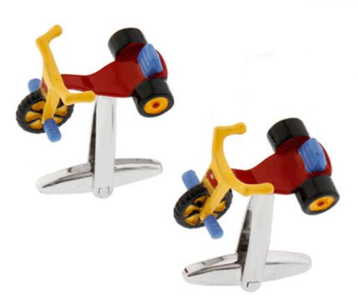 Men's Children Bicycle Cufflinks Novelty Kids' Toy Design Red Color Brass Cuff Links Wholesale&retail