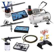 AC-18B-SETA 3 Pcs Airbrush + Airbrush Compressor + Luchtslang + Airbrush Houder Kits Populaire Ontwerp Spuitpistool Pak Voor beginners Tattoo(China)
