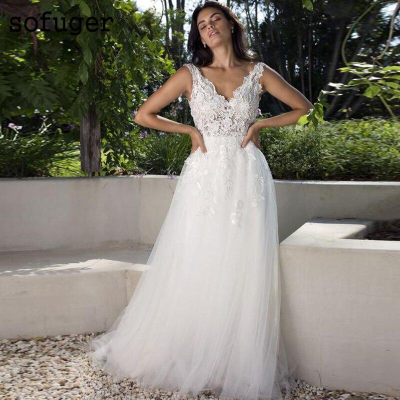 Une ligne ivoire blanc Robe De mariée dentelle col en V Robe De Mariee longue Sofuge Dubai arabe Abiti Da Sposa