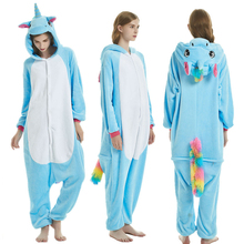 Blue Pegasus Women Pajama Suit Kigurumis Animal Unicorn Onesie Homewear Colorful Tail Sleepwear Flannel Adult Pijamas Party