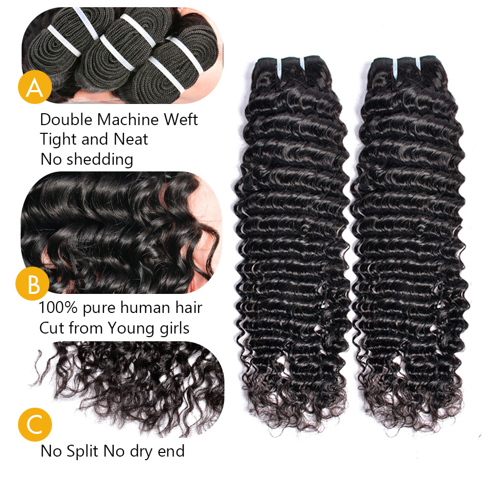 Sunlight Human Hair Brazilian Deep Wave Bundles With Frontal Closure Ear to Ear Lace Frontal With 3 Bundles Human Hair Non-remy