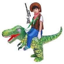 Çocuk çocuk T Rex dinozor şişme kostüm Cosplay kovboy Ride dinozor cadılar bayramı Purim şişirilmiş konfeksiyon Disfraces 3D baskı