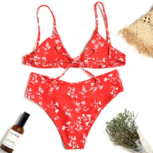 Red Flower print bikini, sexy split swimsuit and swimsuit2020 high waist  swimming suits XLff flower print chevron swimsuit