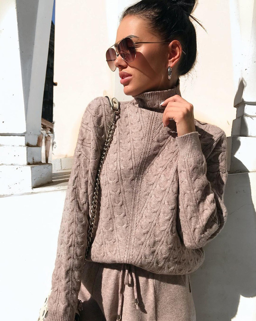 New Knitted 2 Pcs Set Turtleneck Pullover Sweatshirts Women Tracksuit Drawstring Pants Suits Warm Winter Casual Two Piece Sets