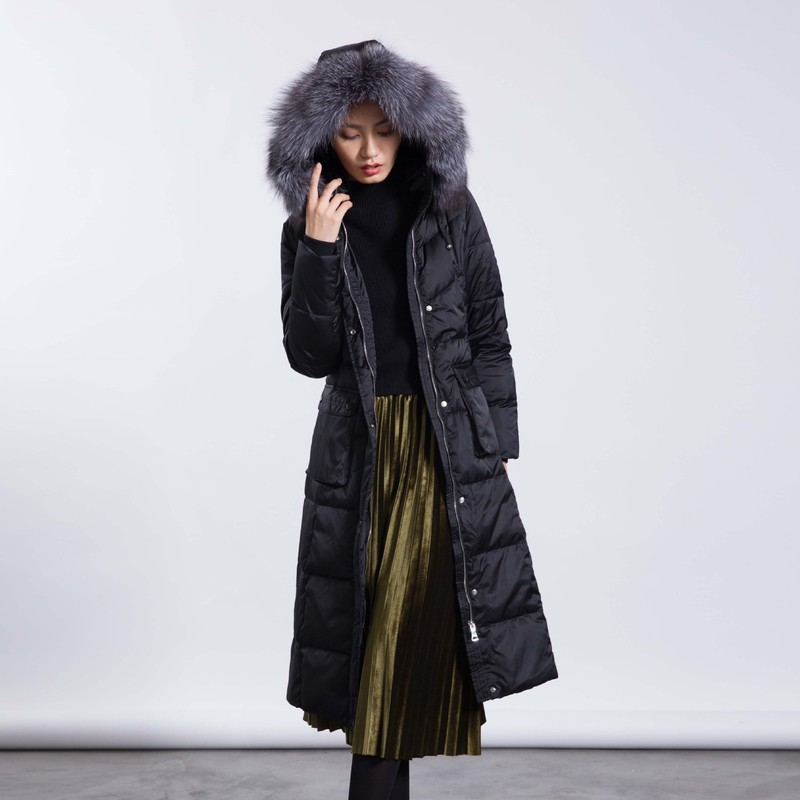 Women Jacket Winter Fox Fur Collar Duck Down Jacket High Quality Extra Long Parka Coat Chaquetas Invierno Mujer KJ603