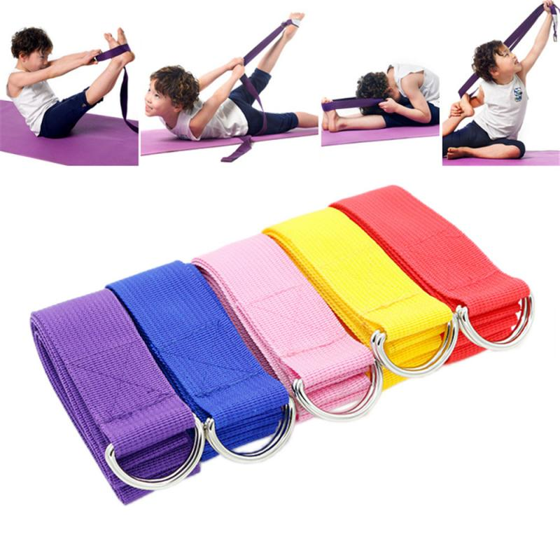 1 PC Fitness Yoga Belt Sport Exercise Adjustable D-Ring Belts Waist Leg Gym Stretch Belt Yoga Wall Lanyard Yoga Stretching
