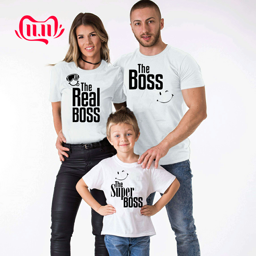 1pcs The Boss Real Boss Super Boss Matching Family T Shirts Mommy Daddy Kids T-Shirt Family Clothes Child Tees Letter Print Tops