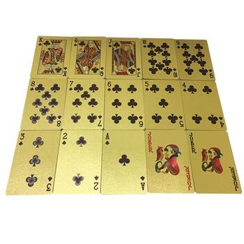 Gorąca sprzedaż 24K złota karty do gry w pokera gra wodoodporna folia Plated Joker Poker grać w karty gry stołowe Jeu De z wyborem dań z karty 52 Cartes tanie i dobre opinie 14 lat plastic waterproof playing cards 31-60 minut Other Z tworzywa sztucznego Inne buławy Normalne Pokrywa karty Pośrednie