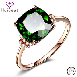 HuiSept Classic Rings 925 Silver Jewelry Square Shaped 8*8mm Emerald Gemstone Zircon Rings for Female Wedding Engagement Party G