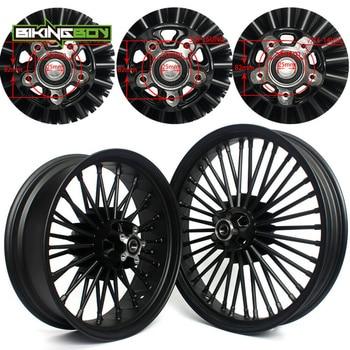 "BIKINGBOY 21"" x 3.5"" 18"" x 5.5"" Front Rear Fat Spoke Wheel Dyna Super Glide Softail Road King FLHR Touring FLS Sportster XLC XLR"