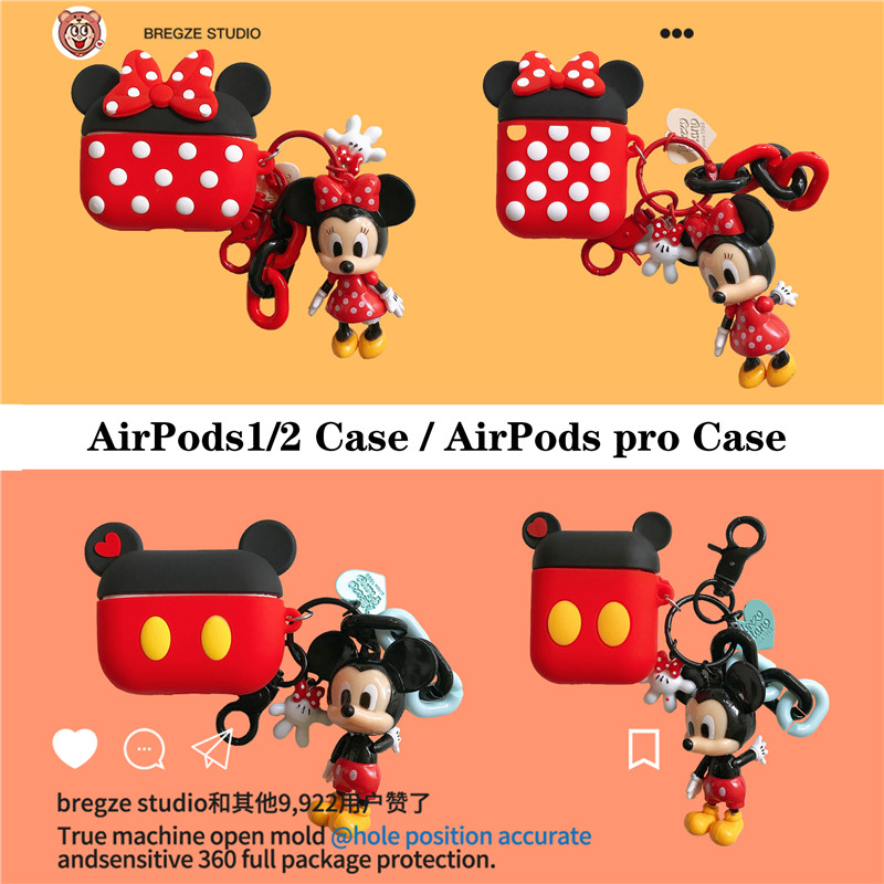 Disney Cute Cartoon Mickey Minnie Mouse With The Same Pendant Headphone Case For Apple Airpods 1/2 Pro 3 Silicone Earphone Cover