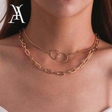 Einfache Gold Farbe Chunky Cuban Link Kette Choker Halskette Kragen Geometrische Doppel Kreis Hoop Layered Halskette Erklärung Schmuck