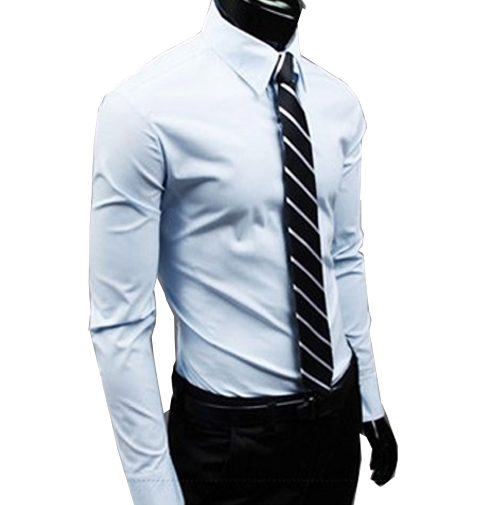 New Men Dress Shirt Turn-Down Collar Unique Neckline Fashion Solid Color Slim Fit Long Sleeve  Man Shirt