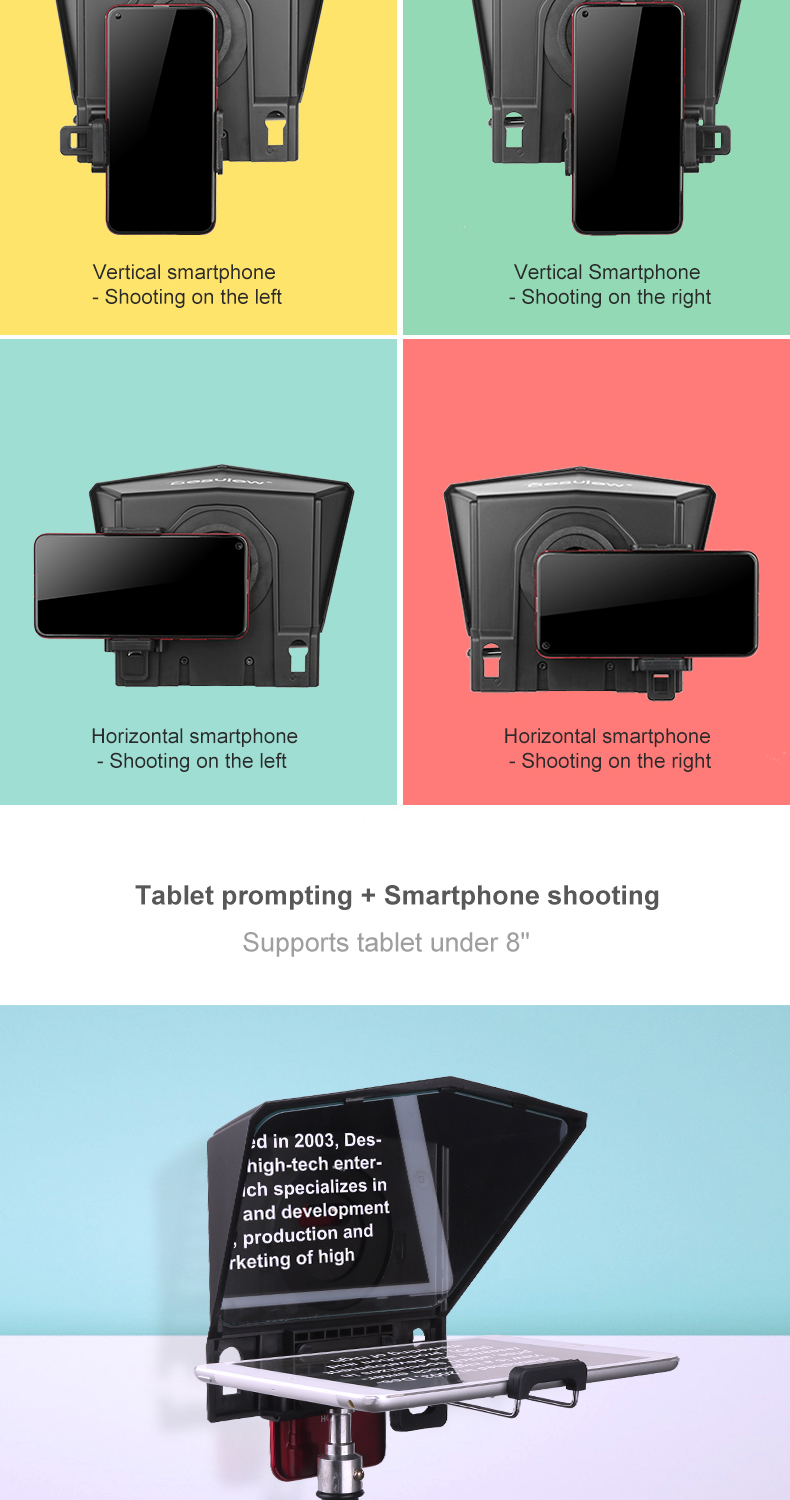 04 Desview Tragbarer Teleprompter für Smartphone  Tablet  DSLR-Kamera für YouTube Interview Studio Bestview T2 mit Fernbedienung