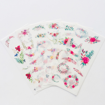 6 Sheets Garland Floral Decorative Adhesive Stickers Decoration - discount item  18% OFF Stationery Sticker