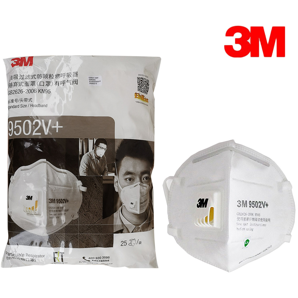 3M 9502V+ N95 Protective Fold Masks Anti Dust PM 2.5 Multi Layer Filter Structure Industrial Fog Enviroment KN95 Masks