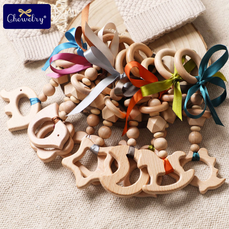 Baby Teether Wooden Pram Clip Baby Mobile Pram Play Gym Wood Beads Bee Pacifier Chain Chewable Baby Rattle Baby Teething Gifts