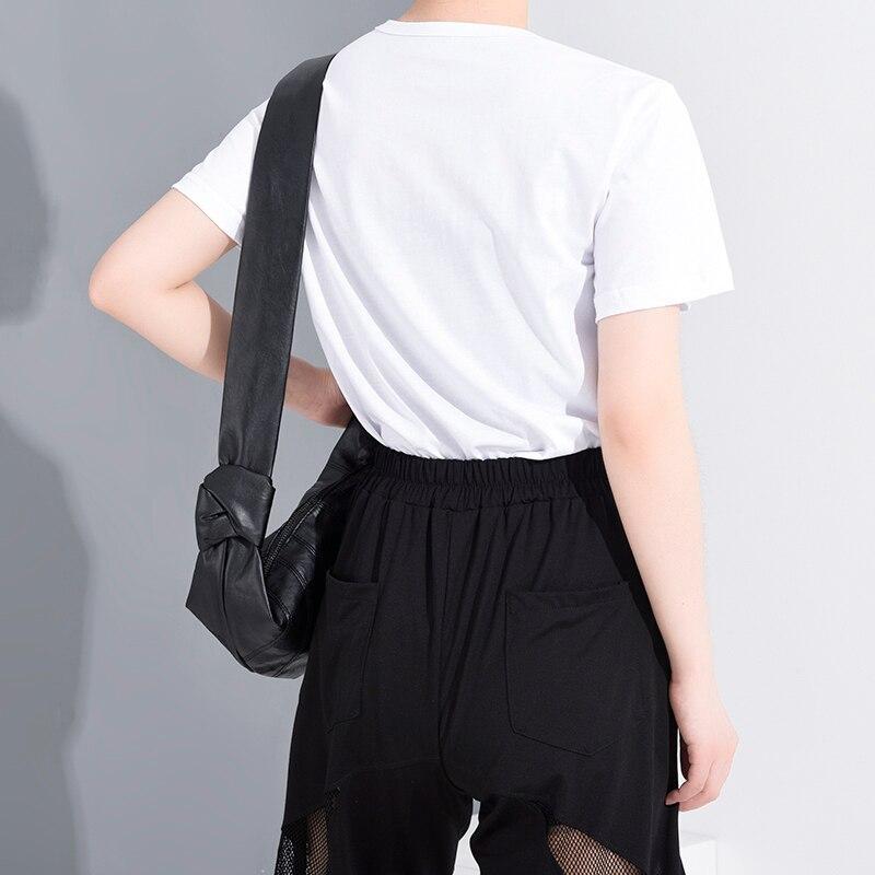[EAM] Women White Pattern Printed Temperament T-shirt New Round Neck Short Sleeve  Fashion Tide  Spring Summer 2020 1W03100 3