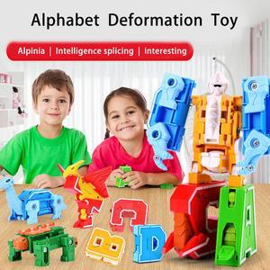 Image 2 - 26 letter A Z Alphabet Animal Dinosaur Warrior Deformation Action Figures Transformation Robot Toys For Children Gift Brinquedos