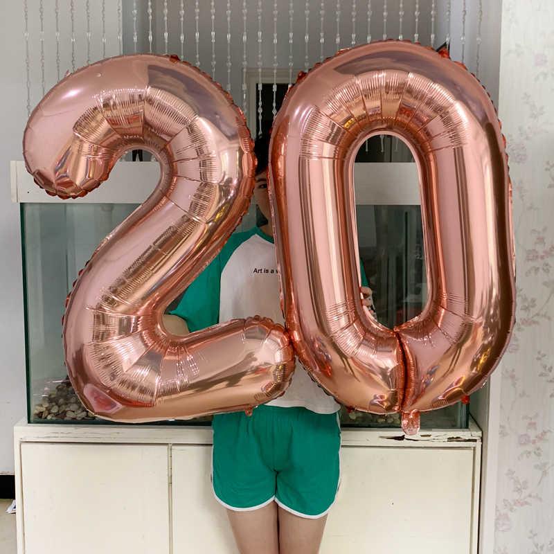 32 นิ้ววันเกิดฟอยล์บอลลูนฮีเลียมบอลลูนจำนวนตัวเลข Happy Birthday PARTY ตกแต่งเด็กบอลลูนวันเกิด Air Globos