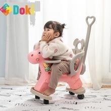 Baby Shining Kids Horse Stroller Children Rocking Chair Riding Horse Trolley Kids Wheelchair Equestrian Ride On Toys Doki Toy